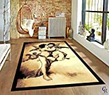 "Champion Rugs Kissing Angels Religious Faith Theme Area Rug (5' 3"" X 7' 5"")"