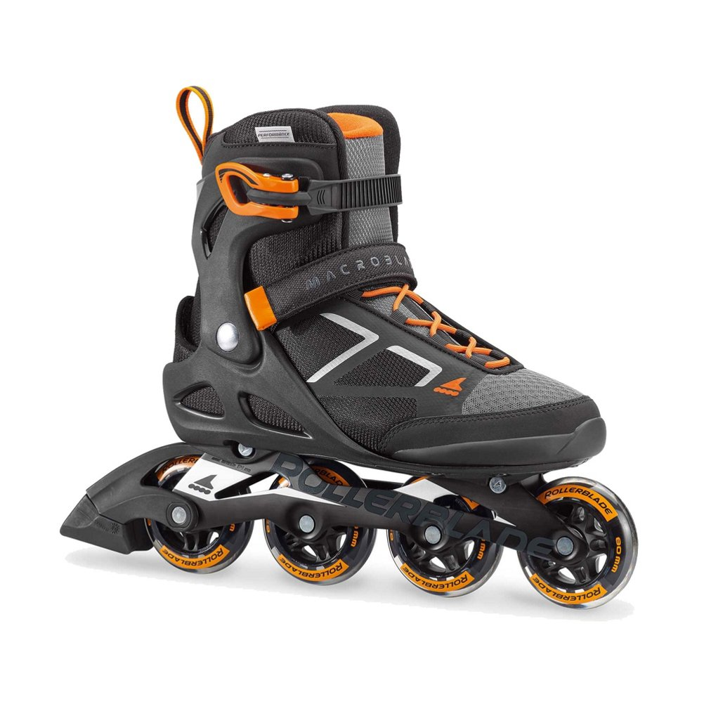 Rollerblade Macroblade 80 Mens Adult Fitness Inline Skate - Black/Orange - 80 mm/82A Wheels with SG5 Bearings - Performance Skates - US size 6, Black/Orange, Size 6 by Rollerblade
