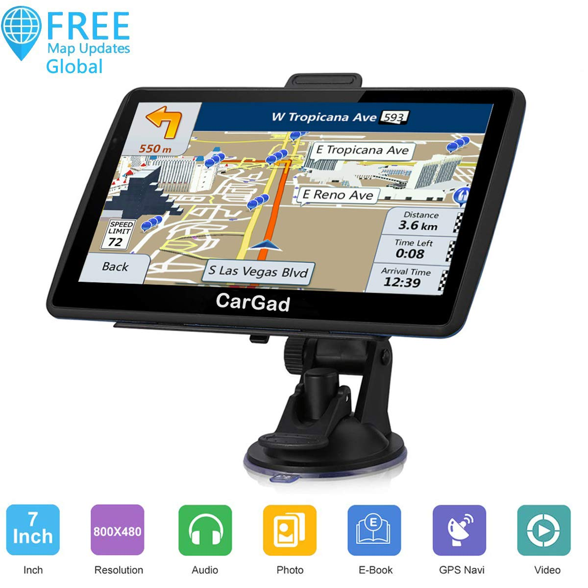 Car GPS Navigation, 7 inch Turn-by-Turn Direction Reminding Real Voice Spoken Navigation System for Car GPS,World Map with Lifetime Free Update, with Post Code Search Speed Camera Alert by CarGad