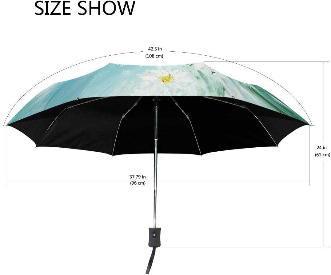 White Daisy Compact Travel Umbrella Sun and Rain Auto Open Close Umbrellas Windproof UV Protection Umbrella