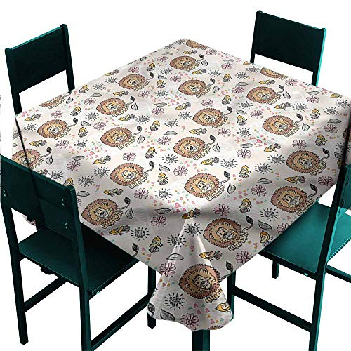 DONEECKL Polyester Tablecloth Lion King of The Jungle and Birds for Kitchen Dinning Tabletop Decoration W54 xL54]()