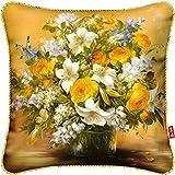 HOMEE Hundreds of Colorful Flower Paintings Fabrics - Art Cushion Creative Pillow Pillow Back Lumbar Pillow Sleeping Pillow,H36,70X70Cm