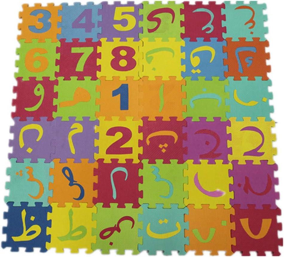 NuiOOui131 Tapis en mousse souple pour enfant Motif alphabet arabe russe 90 cm