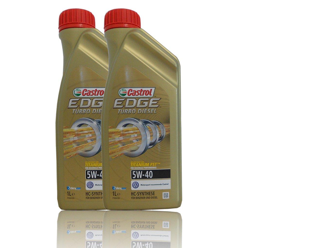 2 x 1 l=2 litros Castrol Edge Titanium fsttm Turbo Diesel 5 W de 40 del motor de aceite motores de aceite Incluye Castrol ölwechsel de colgante; ...