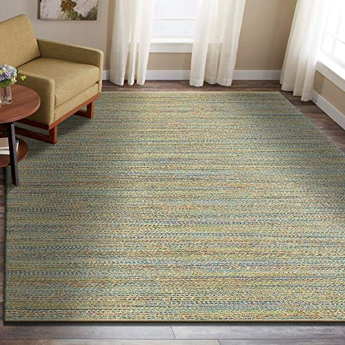 LR Resources NATUR03313BGN80A0 Natural Fiber LR03313-BGN80A0 Blue/Green Rectangle 8 X 10 ft Plush Indoor Area Rug, 8