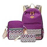 Anseahawk Cute Lightweight Canvas Bookbags School Backpacks for Teen Girls, Purple