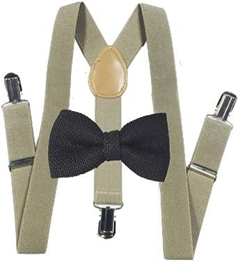 Hemp Bow ties and Black suspenders Combo Mens