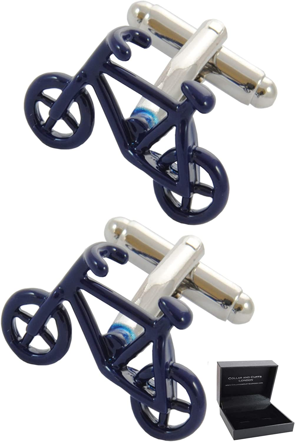 COLLAR AND CUFFS LONDON - Premium Cufflinks with Gift Box - Bicycle - Blue Color - Cycling - Pedal Bike - Cycle