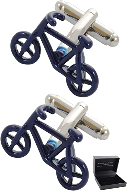 COLLAR AND CUFFS LONDON - Gemelos Caja DE Regalo - Bicicleta - Latón - Color Azul - Ciclismo - Bicicleta de Pedales - Ciclo