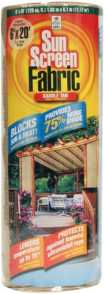 Easy Gardener Sun Screen Fabric Reduces Temperature Up to 15 Degrees, Provides 75 More Shade Tan Shade Fabric, 6 Feet x 20 Feet