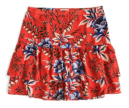 Ann Taylor LOFT Women's Tropical Floral Tiered Ruffle Skirt (6 (Small), Red///Multi)