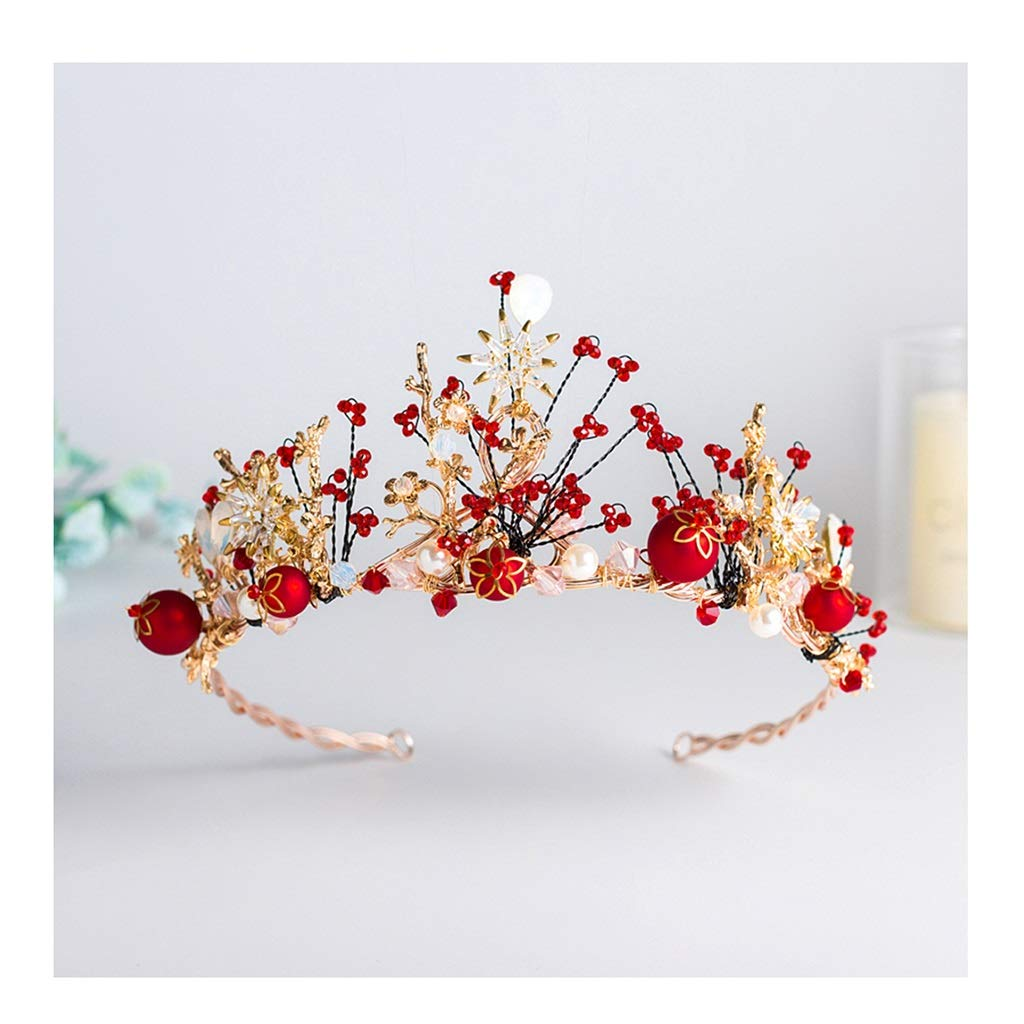 Wreath Flower Bride Red Crown Tiara Girl Hair Accessories Wedding Dress Accessories (Color : A, Size : 44.515.58cm)