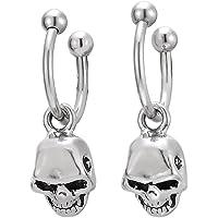 Pair Steel Bead Half Hoop Huggie Hinged Earrings with Dangling Skull for Men Women, Screw Back