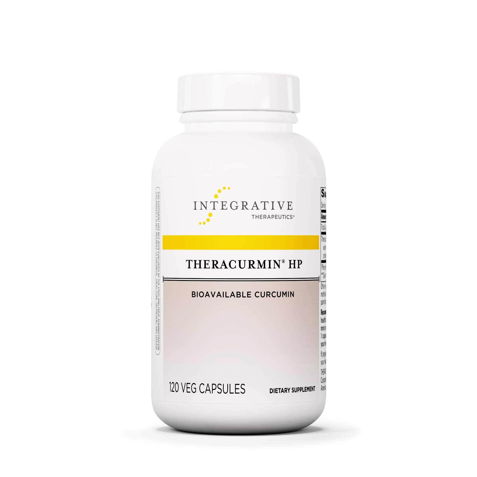 Integrative Therapeutics - Theracurmin HP - Turmeric, Curcumin Supplement - 27x More Bioavailable - High Absorption Turmeric* - Relief of Minor Pain Due to Occasional Overuse* - Vegan - 120 Capsules