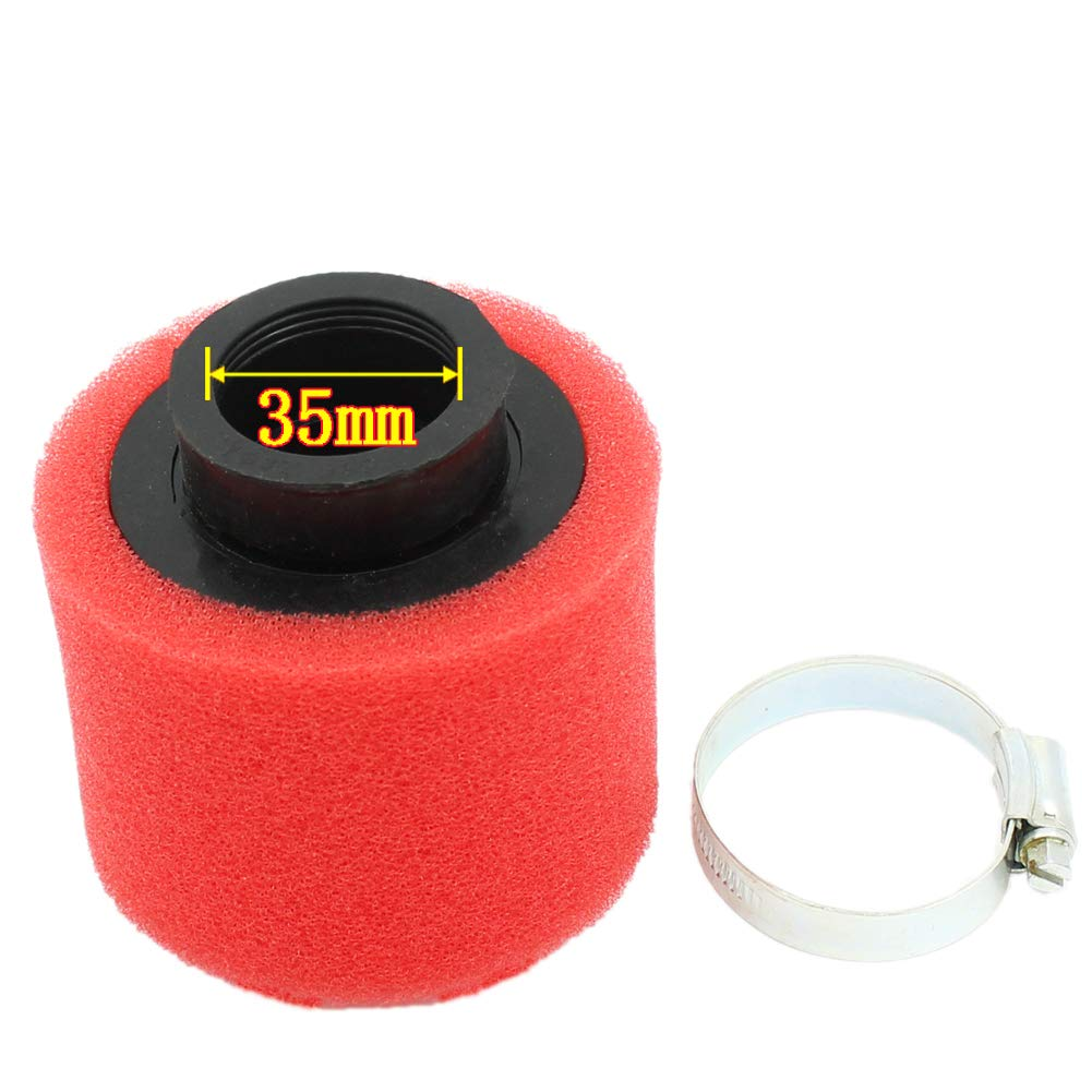 QAZAKY Universal 35mm Red Double Foam Pod Performance Air Filter Cleaner for 50cc 70cc 90cc 110cc 125cc Motorcycle ATV Quad Scooter Go Kart Moped Pit Dirt Racing Super Pocket Bike Yamaha Suzuki