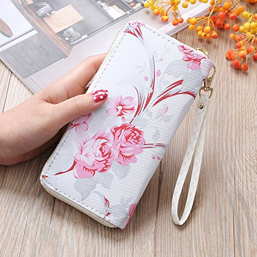 Vintage Bag Pattern Coin Road Women Purse Bag Phone B Long Rose Fashion Wallet Oldeagle Stone qSZBwB