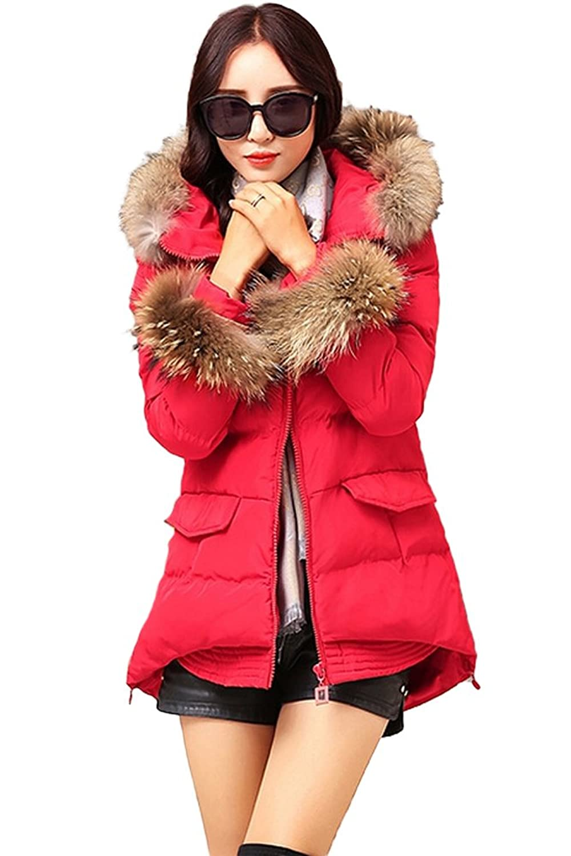 queenshiny Damen Lange Down Baumwolle Mantel Daunenjacke mit Waschbär Pelz Kragen mit Kapuze Winter