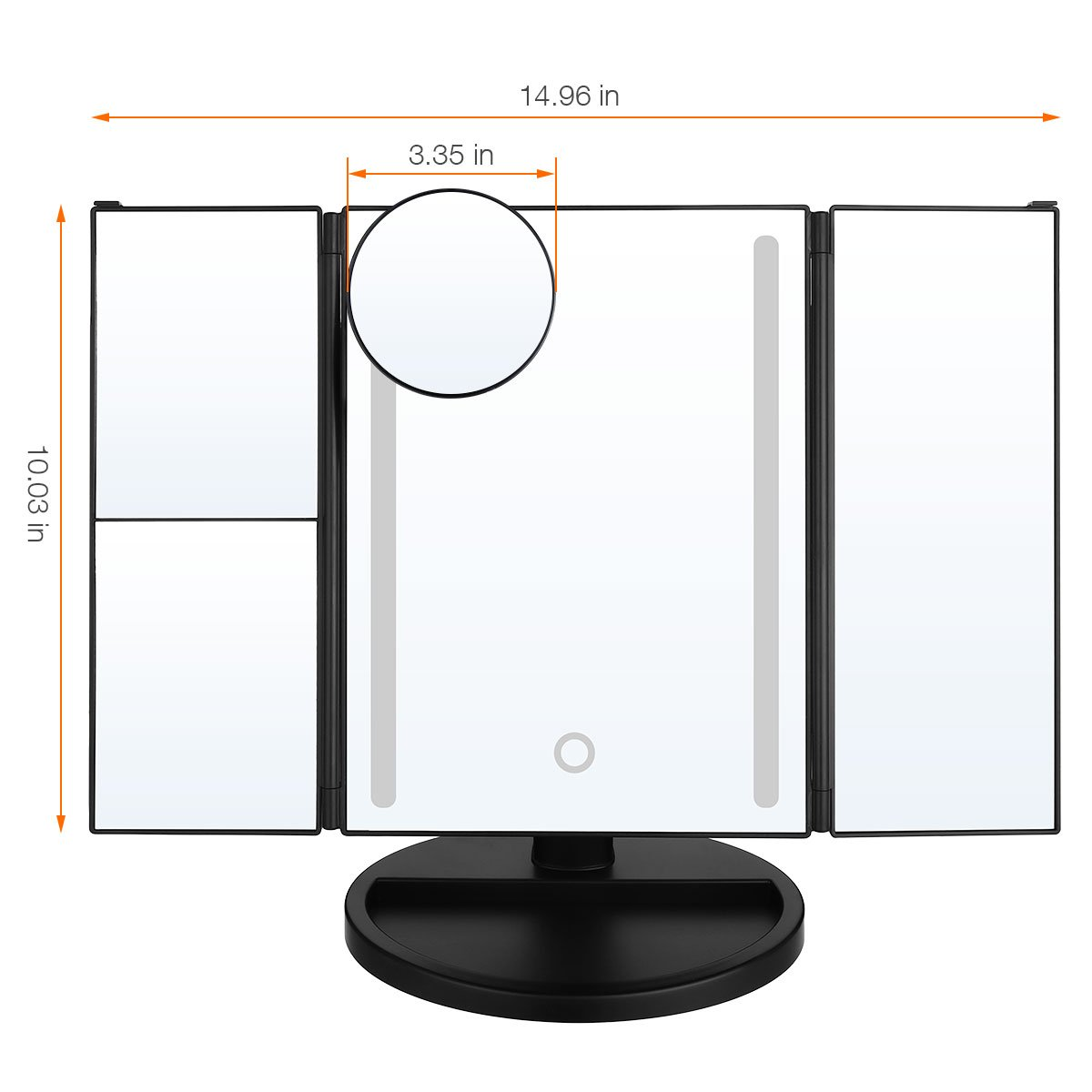 LEPO LED Makeup Mirror, Makeup Vanity Mirror with 1X/2X/3X/10X Magnification, Cosmetic Mirror with 24 LED Lights, 180 Degree Adjustable Rotation (Black) by LEPO (Image #6)