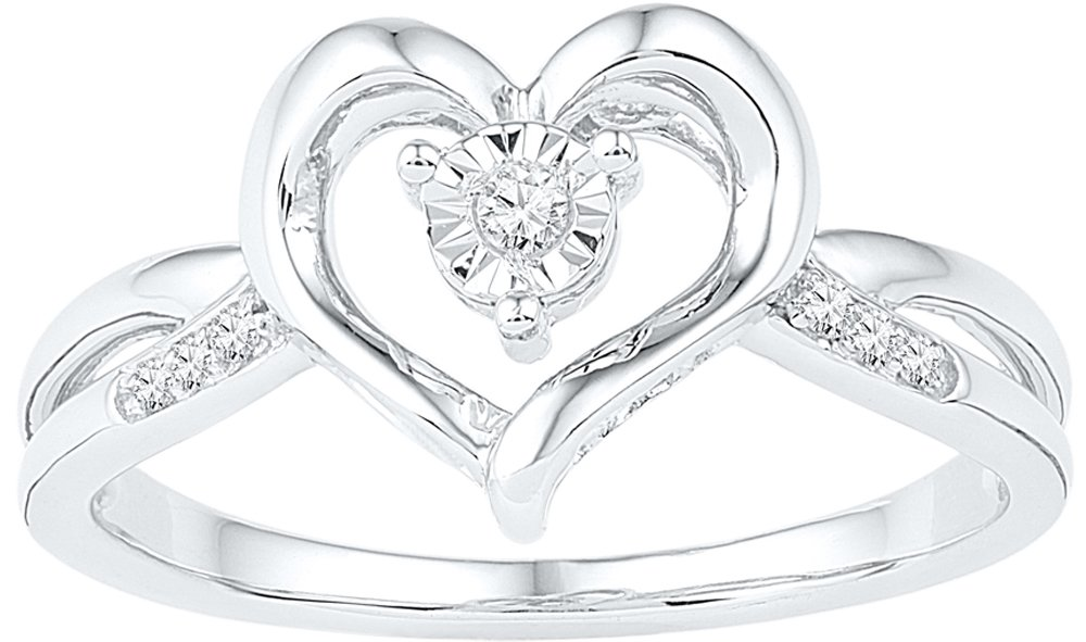 Sterling Silver Womens Round Diamond Heart Love Ring 1/20 Cttw (I2-I3 clarity; J-K color)