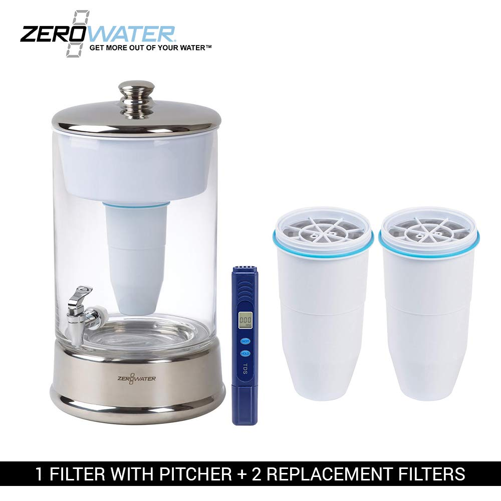 ZeroWater 40 Cup Ready-Pour Glass Dispenser BPA-Free with Free Water Quality Meter NSF Certified to Reduce Lead and Other Heavy Metals (with 2 Extra Filters)