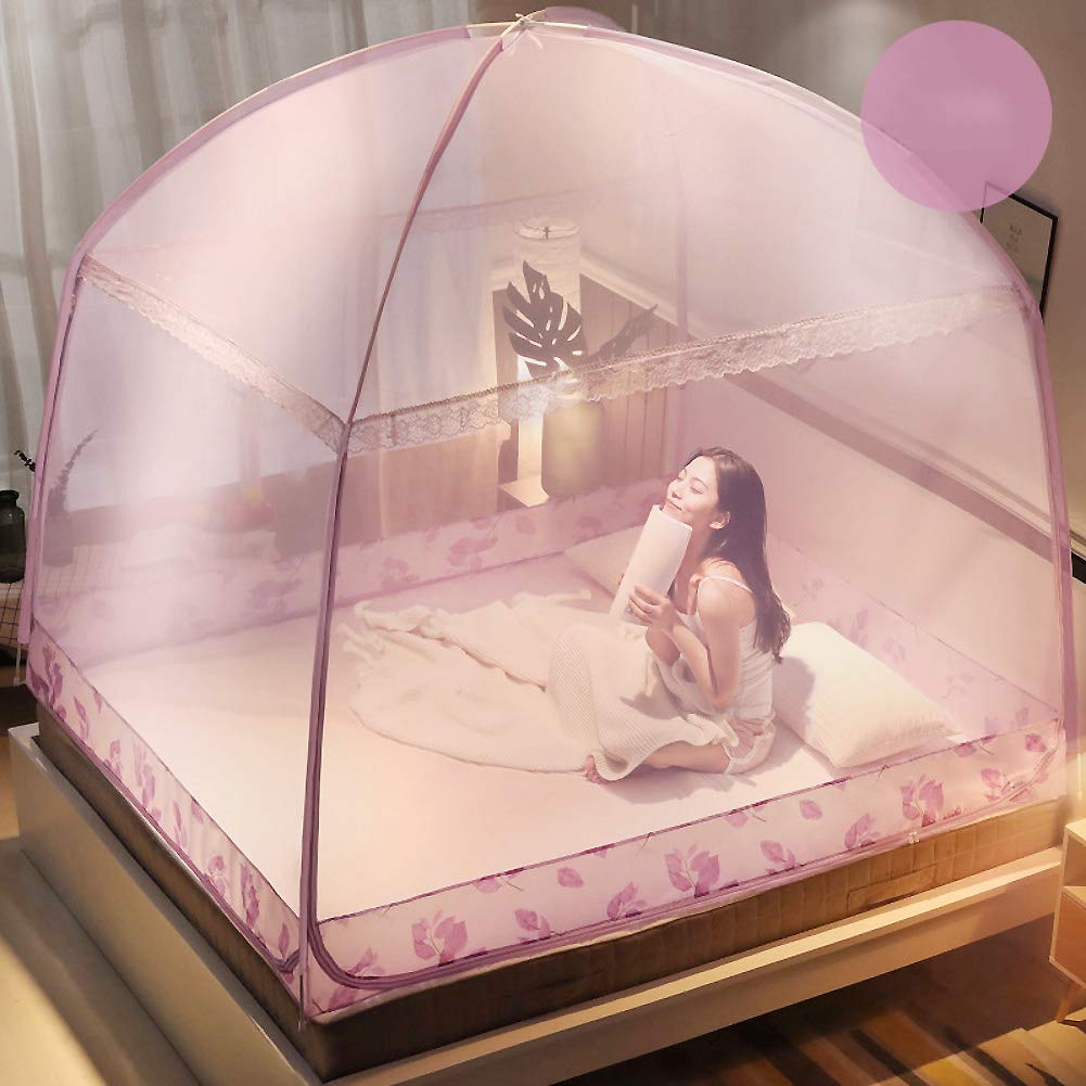 ASDFGH Anti-Fall Yurt Mosquito net, Zipper Netting Bedding, Encryption Princess Bed Canopy Netting Curtains, Three Openings Household Dorm Room-Purple 150x200cm(59x79inch) by ASDFGH