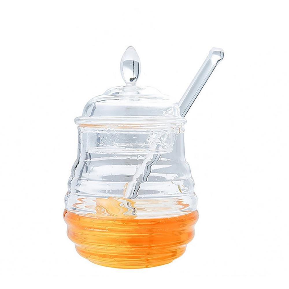 Pawaca Food Grade Plastic Honey Pot with Lid and Dipper,Clear Honey Jar, Jam Jar, 8.6 OZ