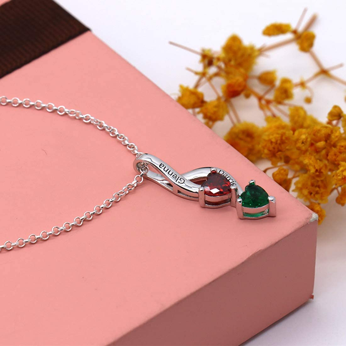 0 0 KIKISHOPQ Personalized 2 Birthstone Mothers Pendant Necklace with 2 Names Family Pendants