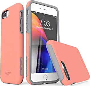 """TEAM LUXURY iPhone 7 Plus case/iPhone 8 Plus case, [Clarity Series] Updated [G-III] Ultra Defender TPU + PC Shock Absorbent Protective Case - for Apple iPhone 7 Plus & 8 Plus 5.5"""" (Living Coral/Gray)"""