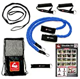 Arm Care 2 Go Baseball / Softball / CrossFit / PT Kit – Resistance Bands – Travel Bag,Bands,Stretch Strap,Door Anchor,Handles,Poster and Bonus Training Videos – Gain Velocity,Strength,Mobility – Blue