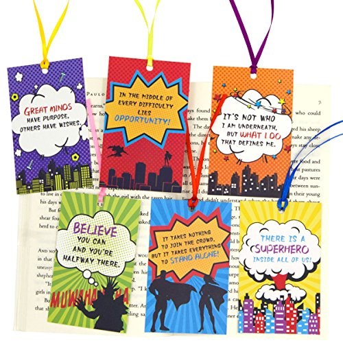 Birthday Bookmarks - Superhero Bookmarks for Kids Students Gifts Teacher Rewards Pack of 24