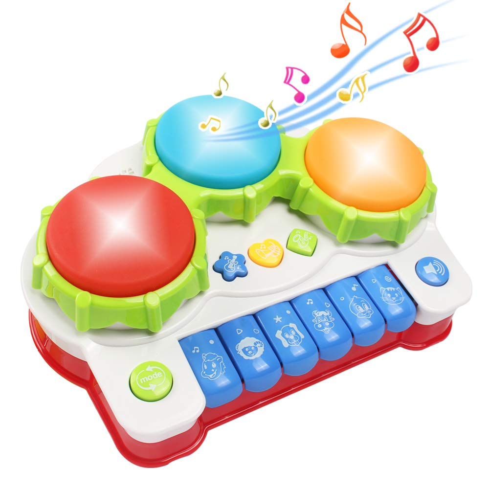 Tomons Music Toys, Musical Instrument Drum Set, Learning Piano Toys for Baby Infant Toddler Kids