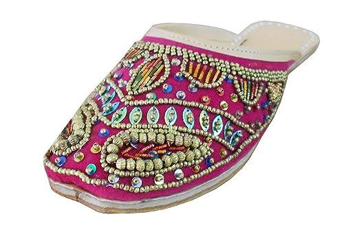 kalra Creations Mujer Tradicional Indio Terciopelo mojari Mocasines Piel Pisos: Amazon.es: Zapatos y complementos