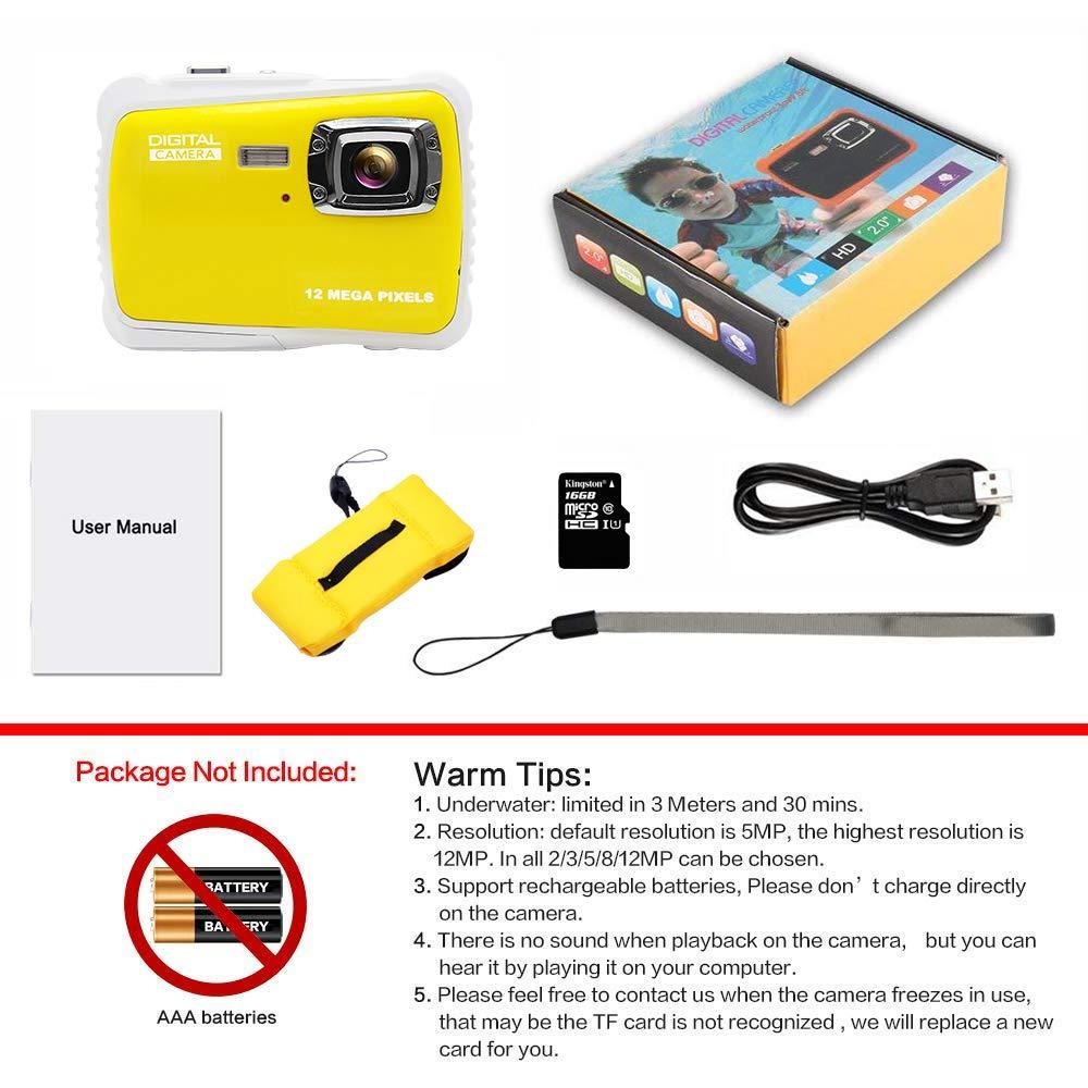 Underwater Camera Kids Digital Camera-IP68 Waterproof Camera 2.0 Inch LCD Display,16G TF Card Floating Wrist Strap,8X Digital Zoom Video Recorder Action Camera Kids Flash and Mic for Kids Gift Toys Gtstar