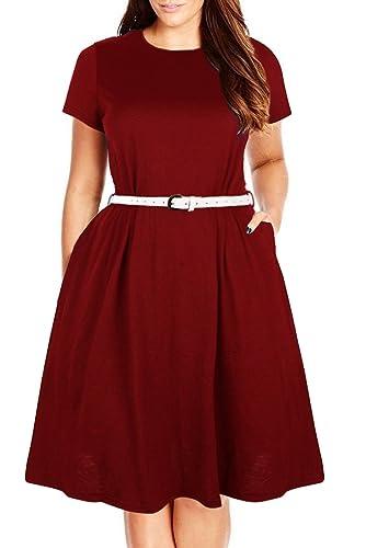 Nemidor Women's Plain Simple Pocket Loose Plus Size Casual Dress
