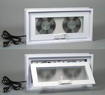 basement or crawl space window with fans 16 w x 8 h window fans rh amazon com exhaust fan for basements Smoke Activated Exhaust Fan