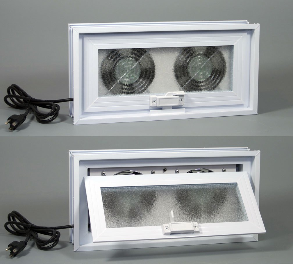 Basement or Crawl Space Window with Fans - 16''w x 8''h (Window & Fans 16''w x 8''h)