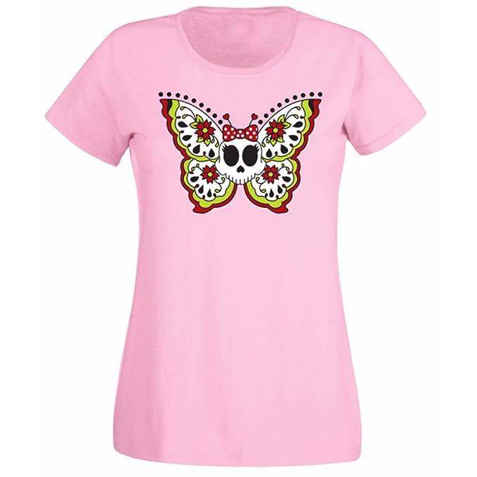 Para Mujer Diseño De Calavera De Mariposas Y Flores De Esqueleto