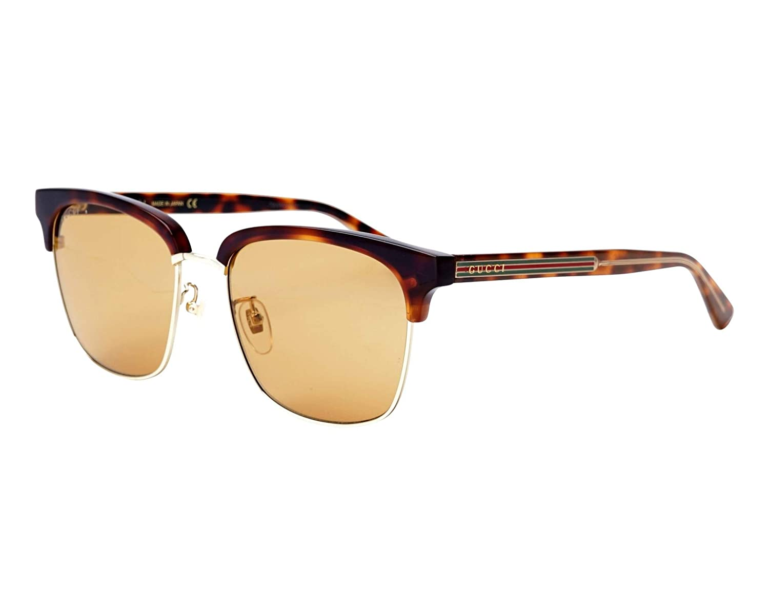 938348a545c Amazon.com  Gucci GG 0382S 004 Havana Gold Plastic Square Sunglasses Light  Brown Lens  Clothing