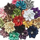 "Chenkou Craft Mix 40pcs 28mm(1 1/8"") Satin Ribbon Flowers Bows Rhinestone Wedding Ornament Appliques"