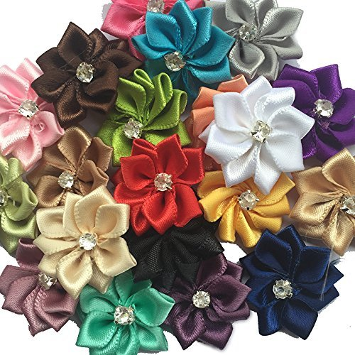 Chenkou Craft Mix 40pcs 28mm(1 1/8) Satin Ribbon Flowers Bows Rhinestone Wedding Ornament Appliques