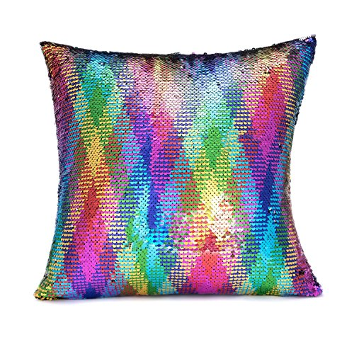 LAGHCAT Reversible Cushion Covers Christmas Sequins Mermaid Pillow Cases with magic mermaid sequin (Colorful and silver,ONLY Pillow Case)