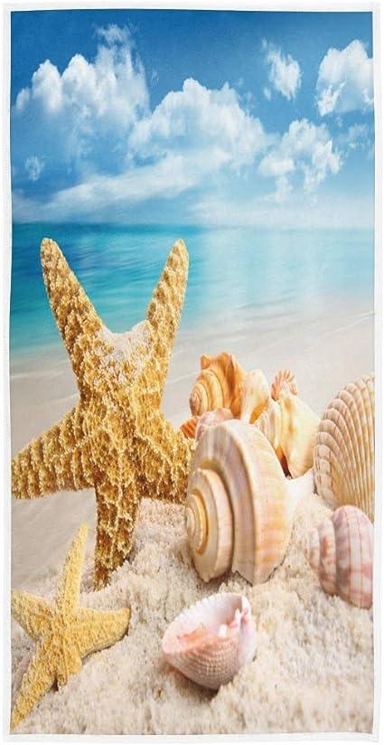 Asciugamani per il viso MnSRUU motivo stelle marine e conchiglie