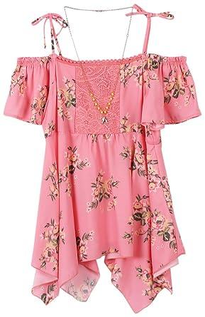 05c2a8a2ff0c3d Amazon.com  Speechless Girls  Big Cold Shoulder Hanky Hem Top  Clothing