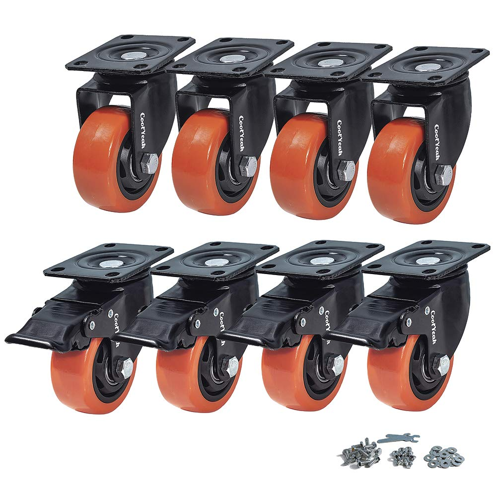 CoolYeah 3 inch Swivel Plate Caster PVC Wheels, Industrial, Premium Heavy Duty Casters (Pack of 8, 4 with Brake & 4 Without)