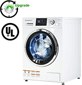 """BestAppliance Combination TurboWash 2.7Cubic. ft. Capacity Compact Laundry 24"""" Electric Dryer and Washer Stainless Steel Drum With FourTransport Bolts,White, Upgrade"""