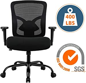 Big and Tall Executive Office Chair - 400lbs Adjustable Height PU Leather Swivel Ergonomic Desk Chair w/Thick Padding Headrest & Lumbar Support Arms for Home Office Black