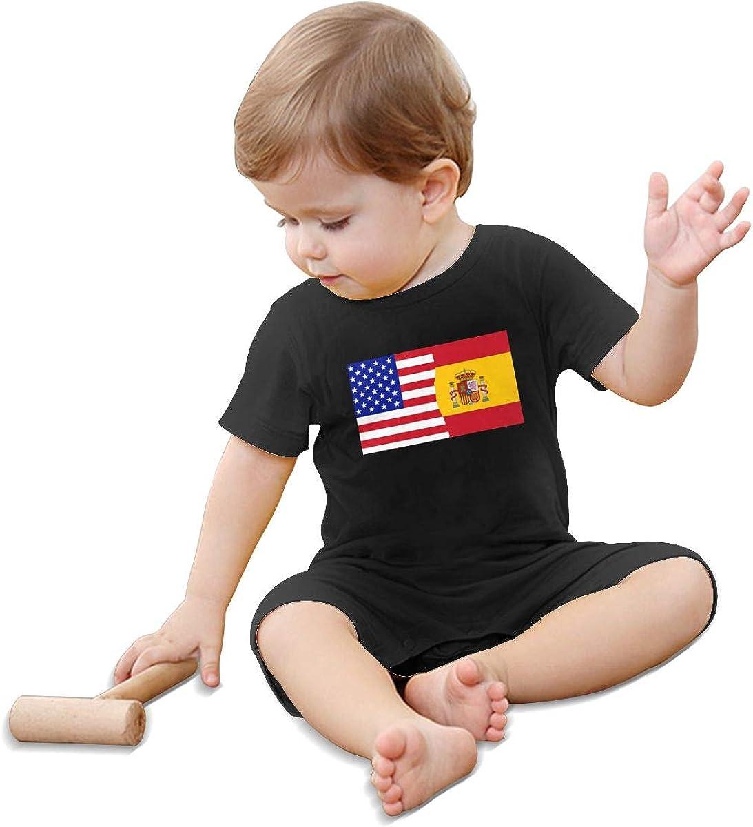 Mri-le1 Baby Boy Jumpsuit Half USA Half Spain Flag Baby Clothes