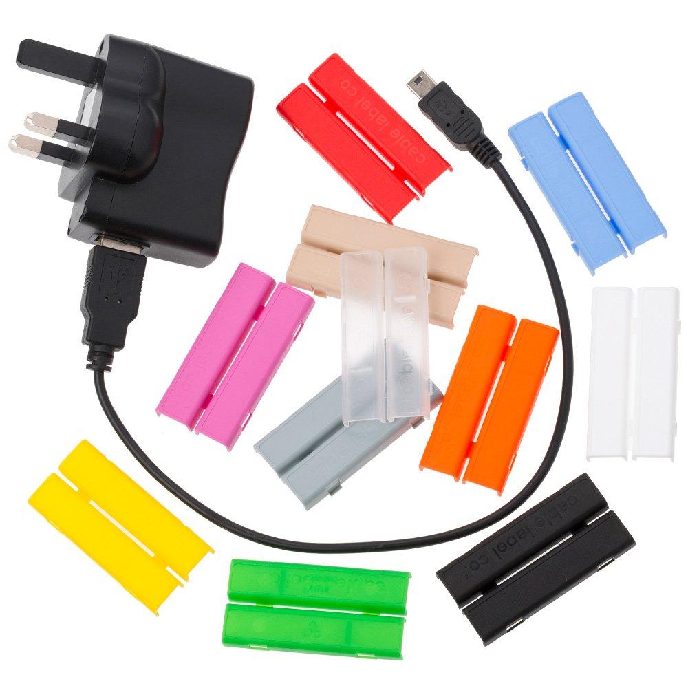 Cablebug5 (grand/multi couleur) paquet de 10 étiquettes à pince de serrage pour l'identification des câbles The Cable Label Company 10xmulti5