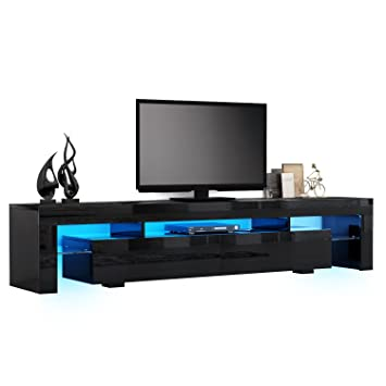 Tv Cabinet Hst Mall Modern Tv Unit Stand 200cm Black Amazoncouk