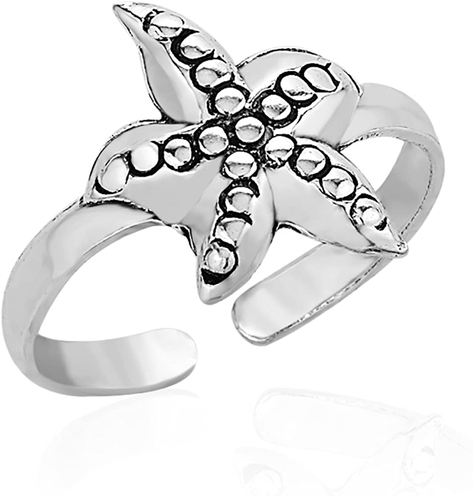 925 Sterling Silver Marine Sea Star Starfish Ocean Life Inspired Open Ended Band Toe Ring